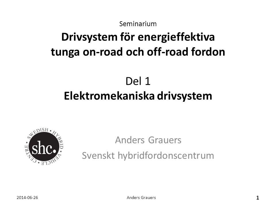 Seminarium Drivsystem för energieffektiva tunga on-road och off-road fordon Del 1 Elektromekaniska drivsystem Anders Grauers Svenskt hybridfordonscent
