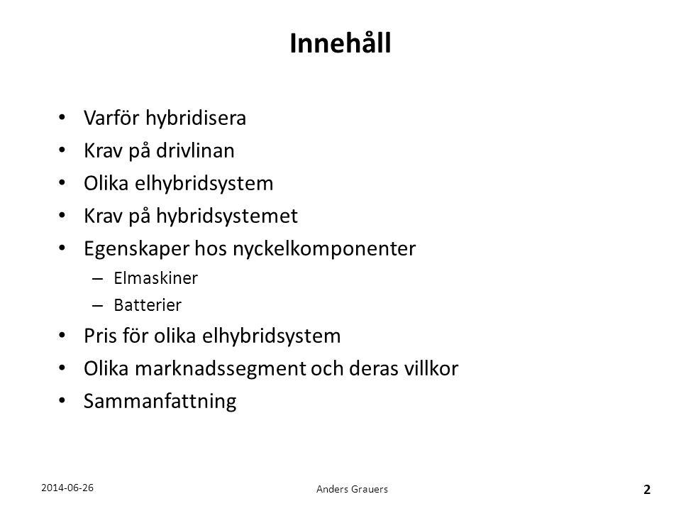 Krav på hybridsystemet Anders Grauers 13 2014-06-26