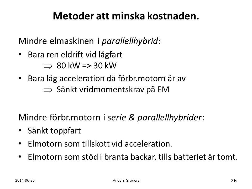 Metoder att minska kostnaden. Mindre elmaskinen i parallellhybrid: • Bara ren eldrift vid lågfart  80 kW => 30 kW • Bara låg acceleration då förbr.mo