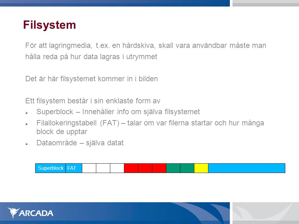 Filsystem För att lagringmedia, t.ex. en hårdskiva, skall vara användbar måste man hålla reda på hur data lagras i utrymmet Det är här filsystemet kom