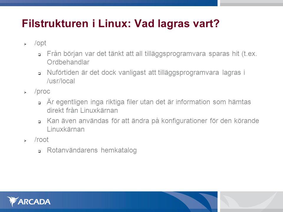 Filstrukturen i Linux: Vad lagras vart?  /opt  Från början var det tänkt att all tilläggsprogramvara sparas hit (t.ex. Ordbehandlar  Nuförtiden är
