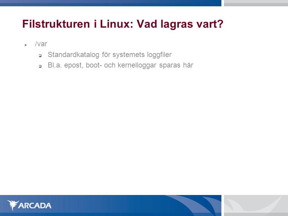 Filstrukturen i Linux: Vad lagras vart?  /var  Standardkatalog för systemets loggfiler  Bl.a. epost, boot- och kernelloggar sparas här