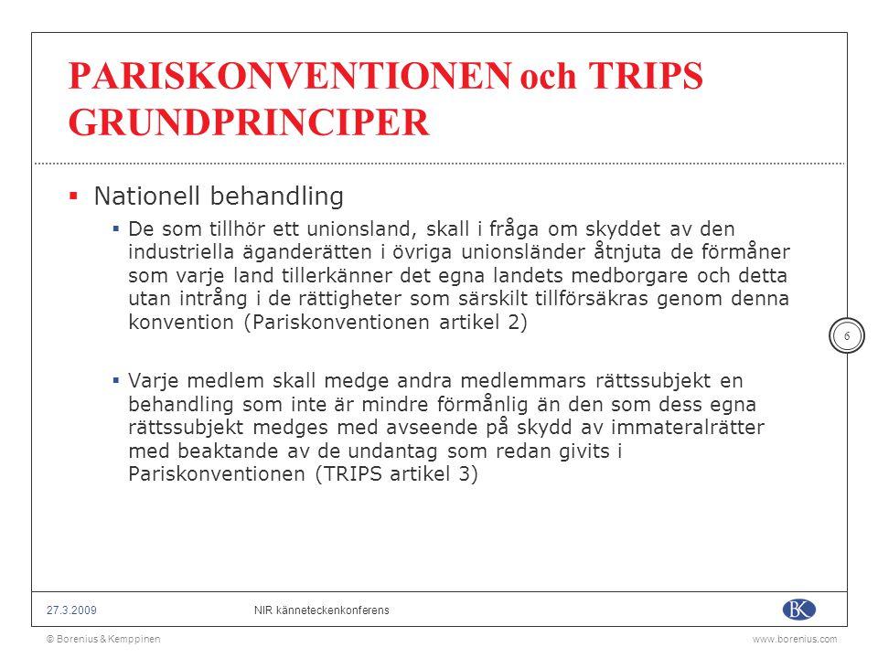 © Borenius & Kemppinenwww.borenius.com NIR känneteckenkonferens27.3.2009 17 VÄLKÄNDA VARUMÄRKEN OMFÅNGET AV ENSAMRÄTTEN  WIPO-rekommendationen med bestämmelser om skydd för välkända märken 1999  Helhetsbedömning (kännedom, användning, värde)  Kännedom inom relevant målgrupp tillräckligt (relevant distributionskanal, sektor inom näringslivet mm.)  Skydd inte bara mot varumärken och domännamn utan också mot användning av identisk firma, avbildning därav, translitteration eller översättning, om bruk av identisk firma skulle innebära •Risk för förväxling mellan verksamheten för vilken denna används och det välkända märket och därmed sannolikt skada varumärkesinnehavarens intressen •Risk för att användning av firman på ett otillbörligt sätt skulle vara till förfång för det äldre kännetecknets särskilningsförmåga, eller •Ett otillbörligt nyttjande av kännetecknets särskiljningsförmåga – Jmf.