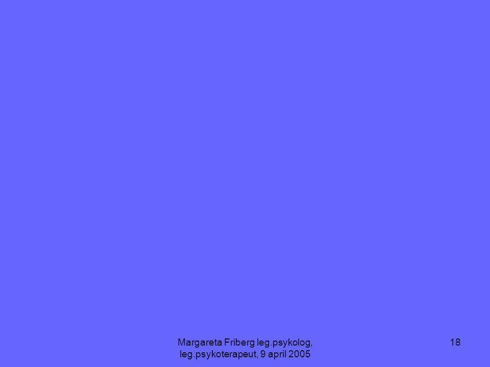 Margareta Friberg leg.psykolog, leg.psykoterapeut, 9 april 2005 18