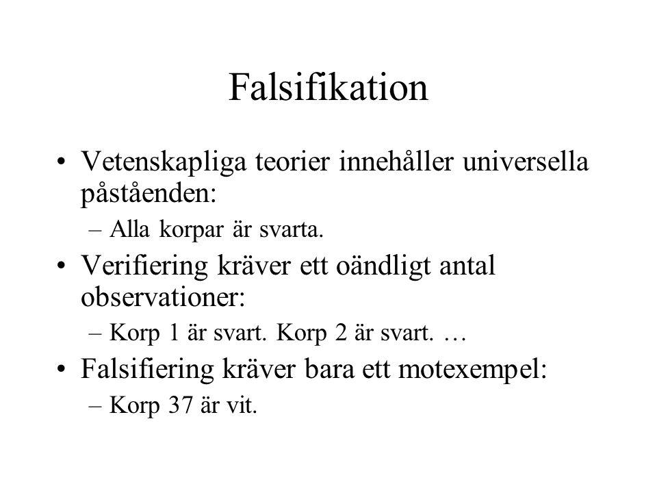 Falsifikation •Vetenskapliga teorier innehåller universella påståenden: –Alla korpar är svarta. •Verifiering kräver ett oändligt antal observationer: