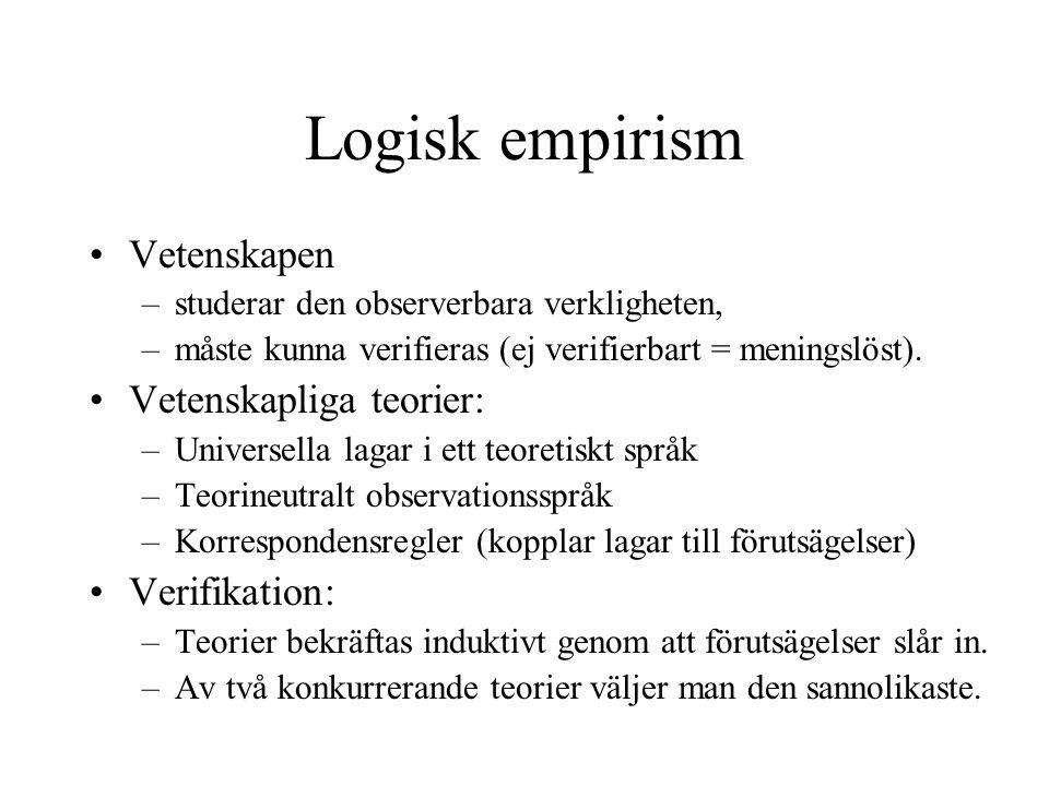 Logisk empirism •Vetenskapen –studerar den observerbara verkligheten, –måste kunna verifieras (ej verifierbart = meningslöst). •Vetenskapliga teorier: