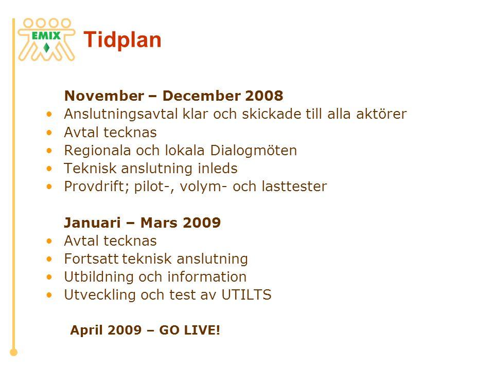 Tidplan November – December 2008 •Anslutningsavtal klar och skickade till alla aktörer •Avtal tecknas •Regionala och lokala Dialogmöten •Teknisk anslu