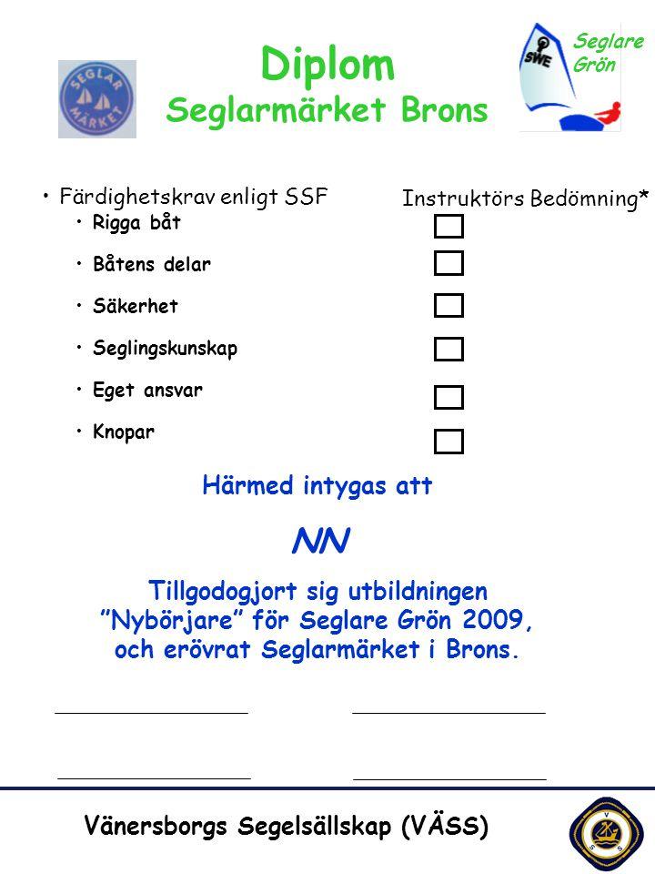 10110 Utg. 4 Vänersborgs Segelsällskap (VÄSS) Diplom Seglarmärket Brons •Färdighetskrav enligt SSF •Rigga båt •Båtens delar •Säkerhet •Seglingskunskap