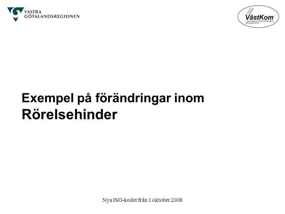 Nya ISO-koder från 1 oktober 2008 Exempel på förändringar inom Rörelsehinder