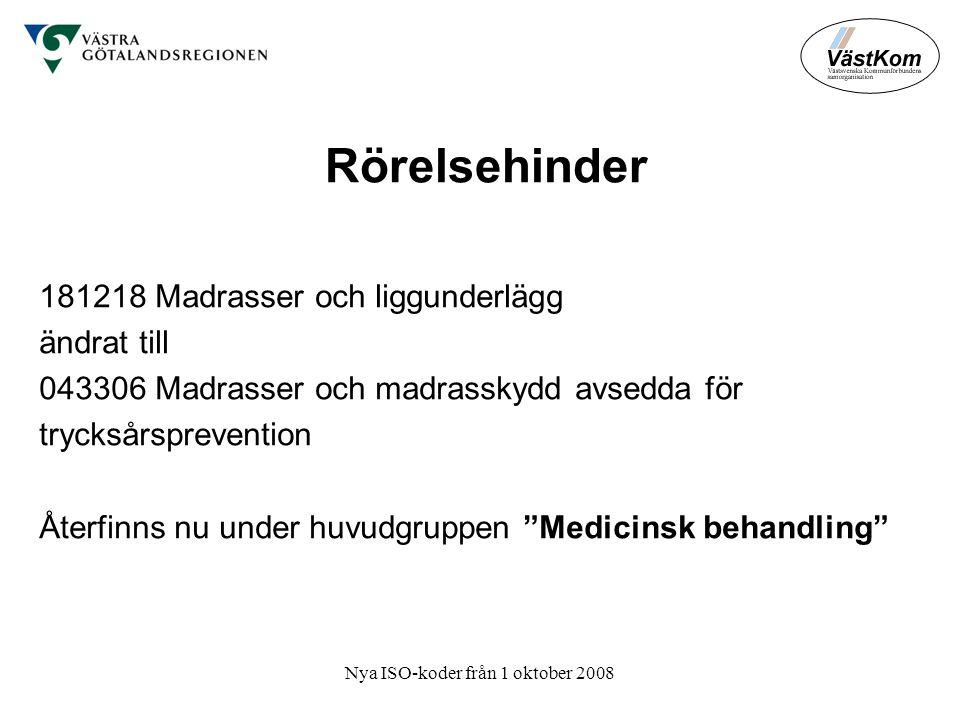 Nya ISO-koder från 1 oktober 2008 Rörelsehinder 181218 Madrasser och liggunderlägg ändrat till 043306 Madrasser och madrasskydd avsedda för trycksårsprevention Återfinns nu under huvudgruppen Medicinsk behandling