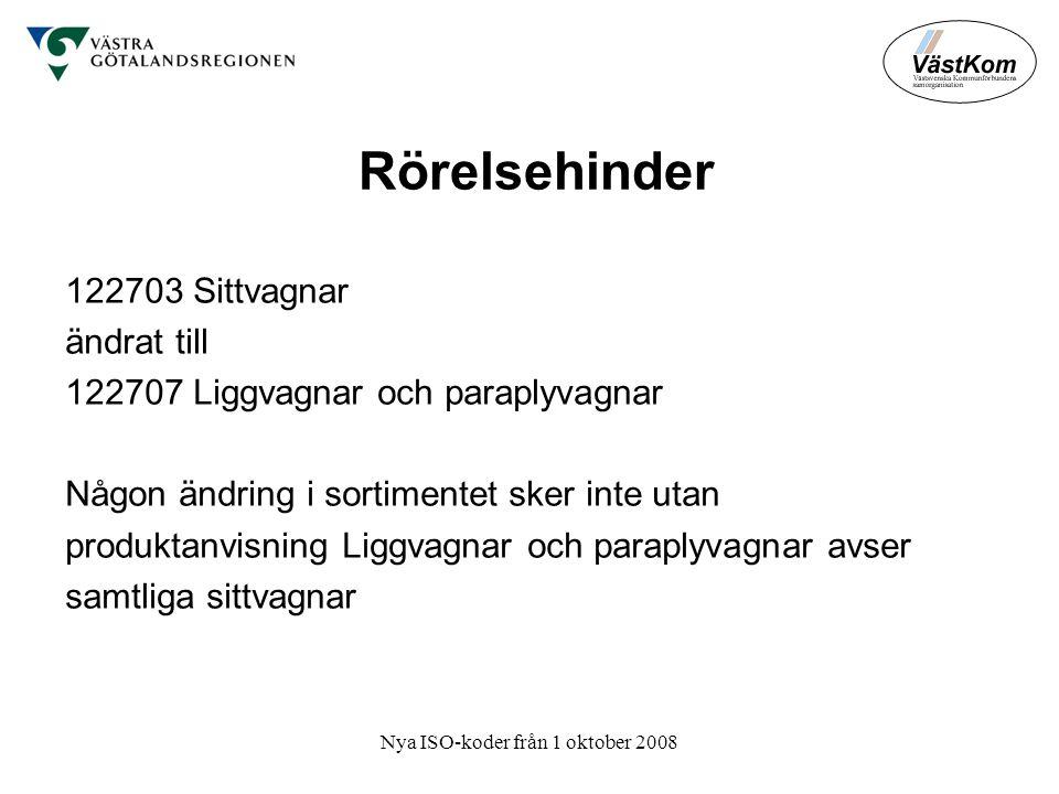 Nya ISO-koder från 1 oktober 2008 Rörelsehinder 122703 Sittvagnar ändrat till 122707 Liggvagnar och paraplyvagnar Någon ändring i sortimentet sker inte utan produktanvisning Liggvagnar och paraplyvagnar avser samtliga sittvagnar