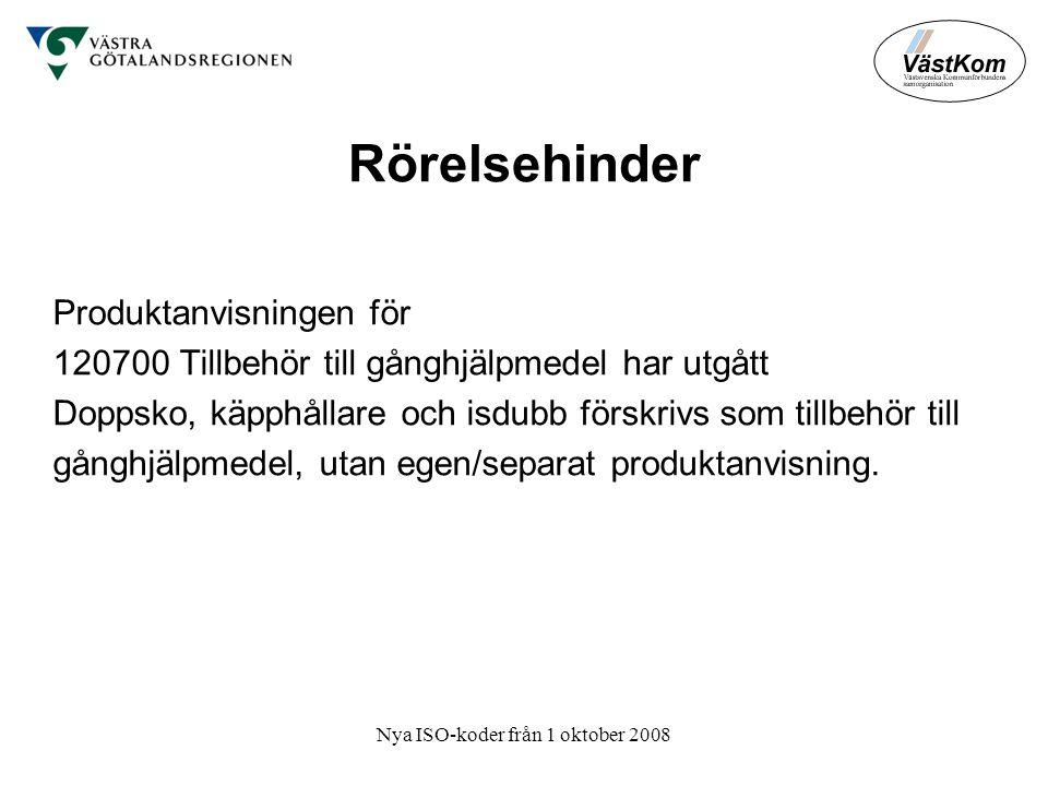 Nya ISO-koder från 1 oktober 2008 Rörelsehinder Produktanvisningen för 120700 Tillbehör till gånghjälpmedel har utgått Doppsko, käpphållare och isdubb förskrivs som tillbehör till gånghjälpmedel, utan egen/separat produktanvisning.