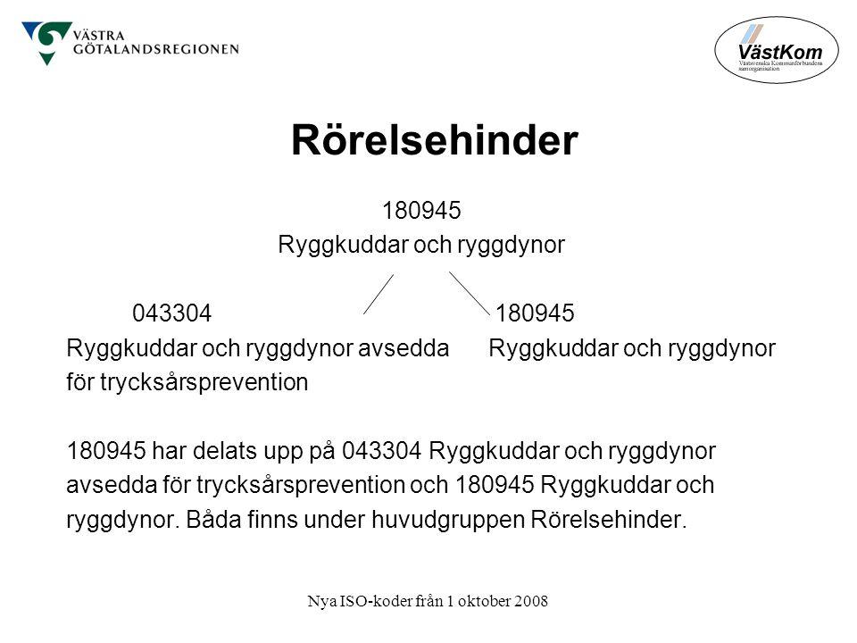Nya ISO-koder från 1 oktober 2008 Rörelsehinder 180945 Ryggkuddar och ryggdynor 043304180945 Ryggkuddar och ryggdynor avsedda Ryggkuddar och ryggdynor för trycksårsprevention 180945 har delats upp på 043304 Ryggkuddar och ryggdynor avsedda för trycksårsprevention och 180945 Ryggkuddar och ryggdynor.