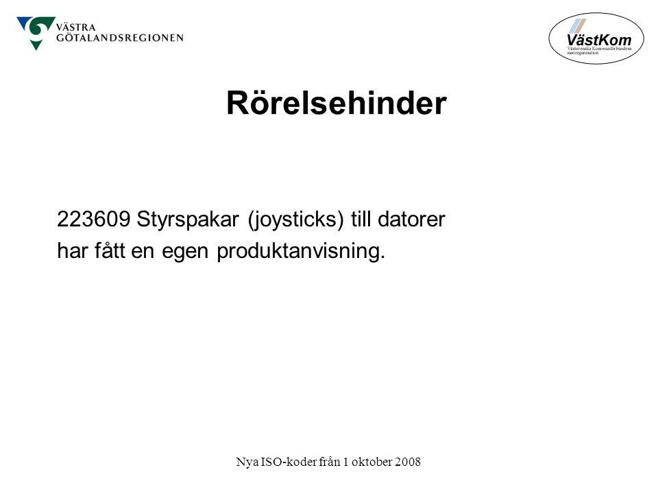 Nya ISO-koder från 1 oktober 2008 Rörelsehinder 223609 Styrspakar (joysticks) till datorer har fått en egen produktanvisning.