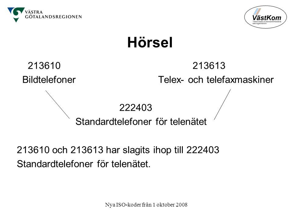 Nya ISO-koder från 1 oktober 2008 Hörsel 213610 213613 Bildtelefoner Telex- och telefaxmaskiner 222403 Standardtelefoner för telenätet 213610 och 213613 har slagits ihop till 222403 Standardtelefoner för telenätet.