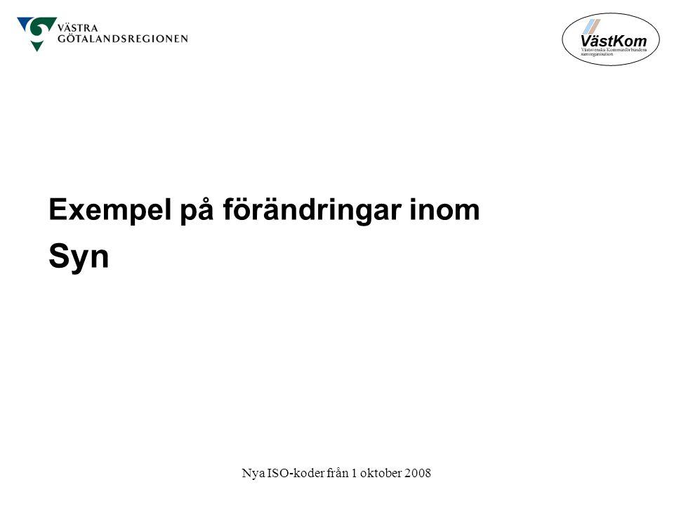 Nya ISO-koder från 1 oktober 2008 Exempel på förändringar inom Syn