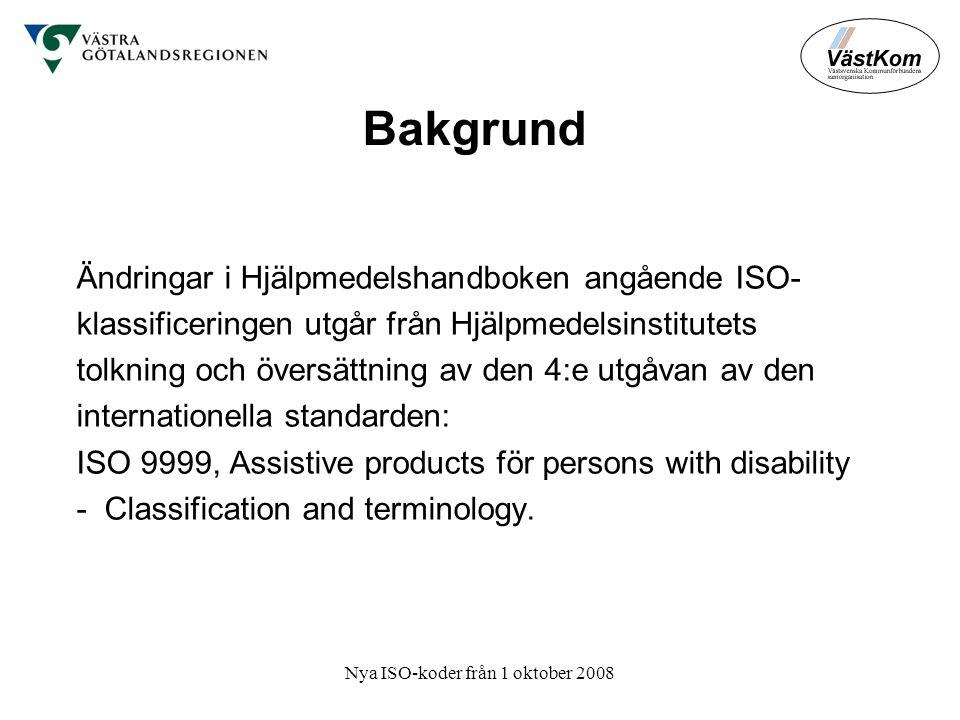 Nya ISO-koder från 1 oktober 2008 Bakgrund Ändringar i Hjälpmedelshandboken angående ISO- klassificeringen utgår från Hjälpmedelsinstitutets tolkning och översättning av den 4:e utgåvan av den internationella standarden: ISO 9999, Assistive products för persons with disability - Classification and terminology.