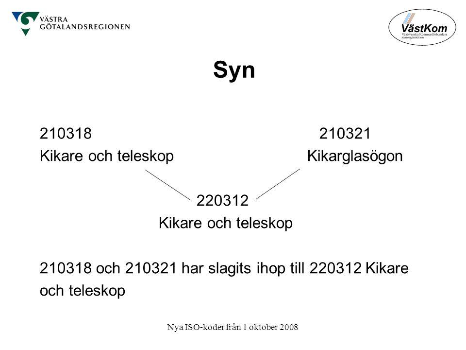 Nya ISO-koder från 1 oktober 2008 Syn 210318 210321 Kikare och teleskop Kikarglasögon 220312 Kikare och teleskop 210318 och 210321 har slagits ihop till 220312 Kikare och teleskop