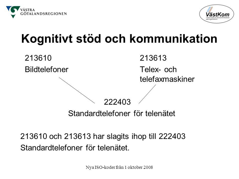 Nya ISO-koder från 1 oktober 2008 Kognitivt stöd och kommunikation 213610 213613 Bildtelefoner Telex- och telefaxmaskiner 222403 Standardtelefoner för telenätet 213610 och 213613 har slagits ihop till 222403 Standardtelefoner för telenätet.