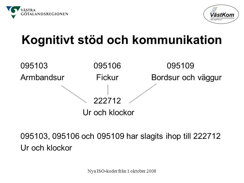 Nya ISO-koder från 1 oktober 2008 Kognitivt stöd och kommunikation 095103 095106 095109 Armbandsur Fickur Bordsur och väggur 222712 Ur och klockor 095103, 095106 och 095109 har slagits ihop till 222712 Ur och klockor