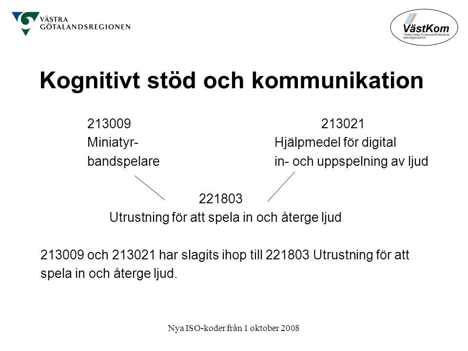 Nya ISO-koder från 1 oktober 2008 Kognitivt stöd och kommunikation 213009 213021 Miniatyr- Hjälpmedel för digital bandspelarein- och uppspelning av ljud 221803 Utrustning för att spela in och återge ljud 213009 och 213021 har slagits ihop till 221803 Utrustning för att spela in och återge ljud.