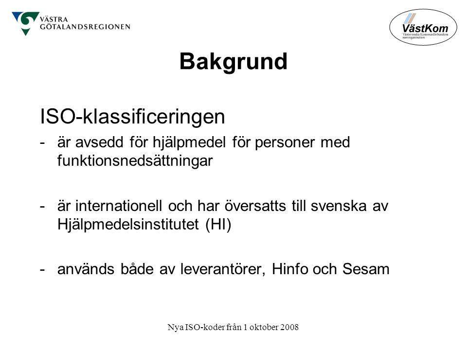 Nya ISO-koder från 1 oktober 2008 Bakgrund ISO-klassificeringen -är avsedd för hjälpmedel för personer med funktionsnedsättningar -är internationell och har översatts till svenska av Hjälpmedelsinstitutet (HI) -används både av leverantörer, Hinfo och Sesam