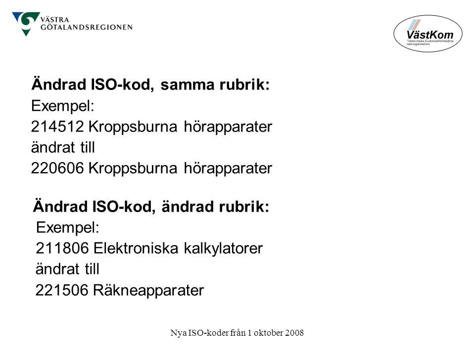 Nya ISO-koder från 1 oktober 2008 Ändrad ISO-kod, samma rubrik: Exempel: 214512 Kroppsburna hörapparater ändrat till 220606 Kroppsburna hörapparater Ändrad ISO-kod, ändrad rubrik: Exempel: 211806 Elektroniska kalkylatorer ändrat till 221506 Räkneapparater