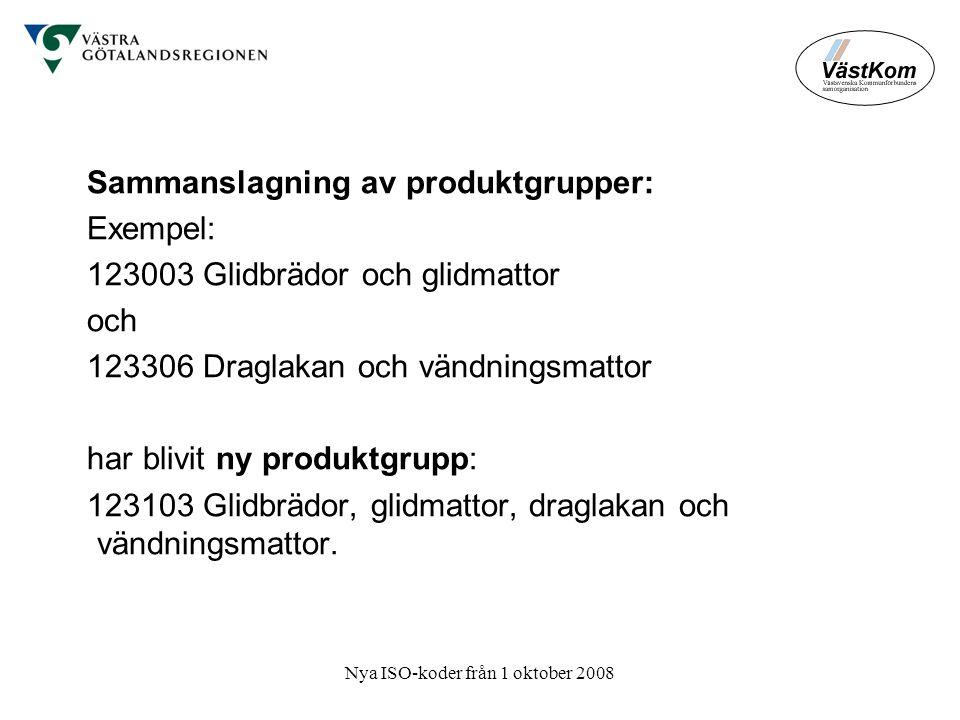 Nya ISO-koder från 1 oktober 2008 Sammanslagning av produktgrupper: Exempel: 123003 Glidbrädor och glidmattor och 123306 Draglakan och vändningsmattor har blivit ny produktgrupp: 123103 Glidbrädor, glidmattor, draglakan och vändningsmattor.