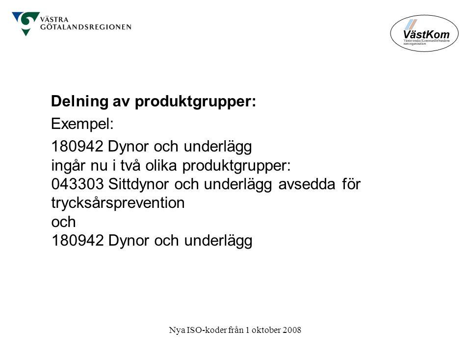 Nya ISO-koder från 1 oktober 2008 Delning av produktgrupper: Exempel: 180942 Dynor och underlägg ingår nu i två olika produktgrupper: 043303 Sittdynor och underlägg avsedda för trycksårsprevention och 180942 Dynor och underlägg
