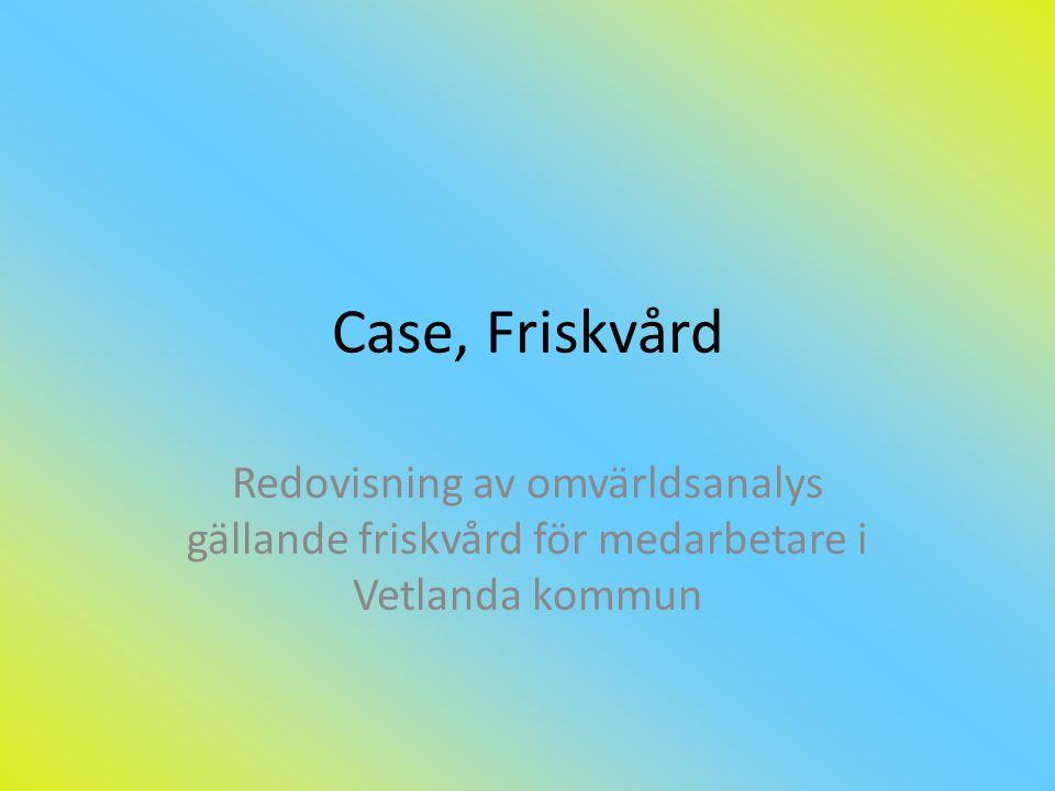 Case, Friskvård Redovisning av omvärldsanalys gällande friskvård för medarbetare i Vetlanda kommun
