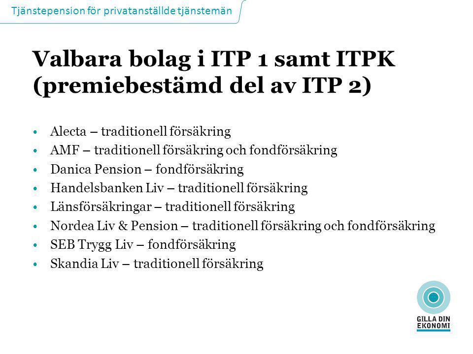Tjänstepension för privatanställde tjänstemän Valbara bolag i ITP 1 samt ITPK (premiebestämd del av ITP 2) •Alecta – traditionell försäkring •AMF – tr