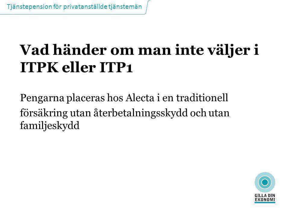 Tjänstepension för privatanställde tjänstemän Vad händer om man inte väljer i ITPK eller ITP1 Pengarna placeras hos Alecta i en traditionell försäkrin