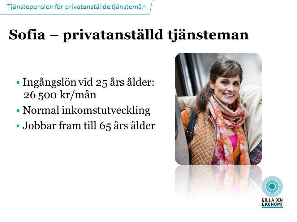 Tjänstepension för privatanställde tjänstemän Sofia – privatanställd tjänsteman • Ingångslön vid 25 års ålder: 26 500 kr/mån • Normal inkomstutvecklin