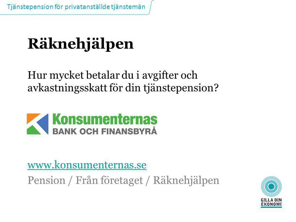 Tjänstepension för privatanställde tjänstemän Räknehjälpen Hur mycket betalar du i avgifter och avkastningsskatt för din tjänstepension? www.konsument
