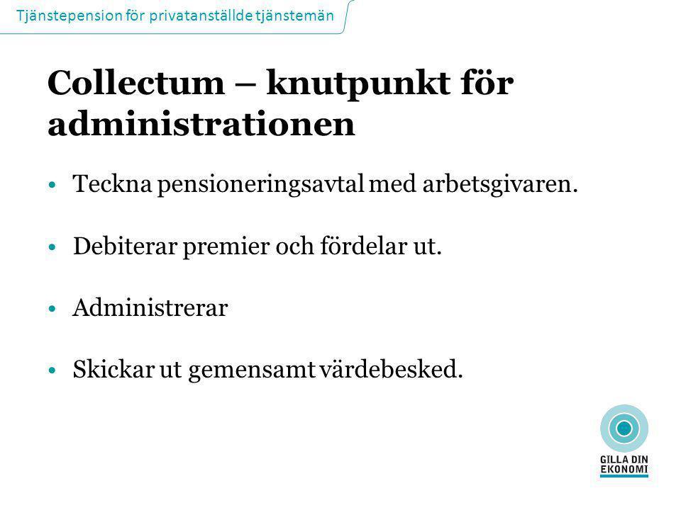 Tjänstepension för privatanställde tjänstemän Collectum – knutpunkt för administrationen •Teckna pensioneringsavtal med arbetsgivaren. •Debiterar prem