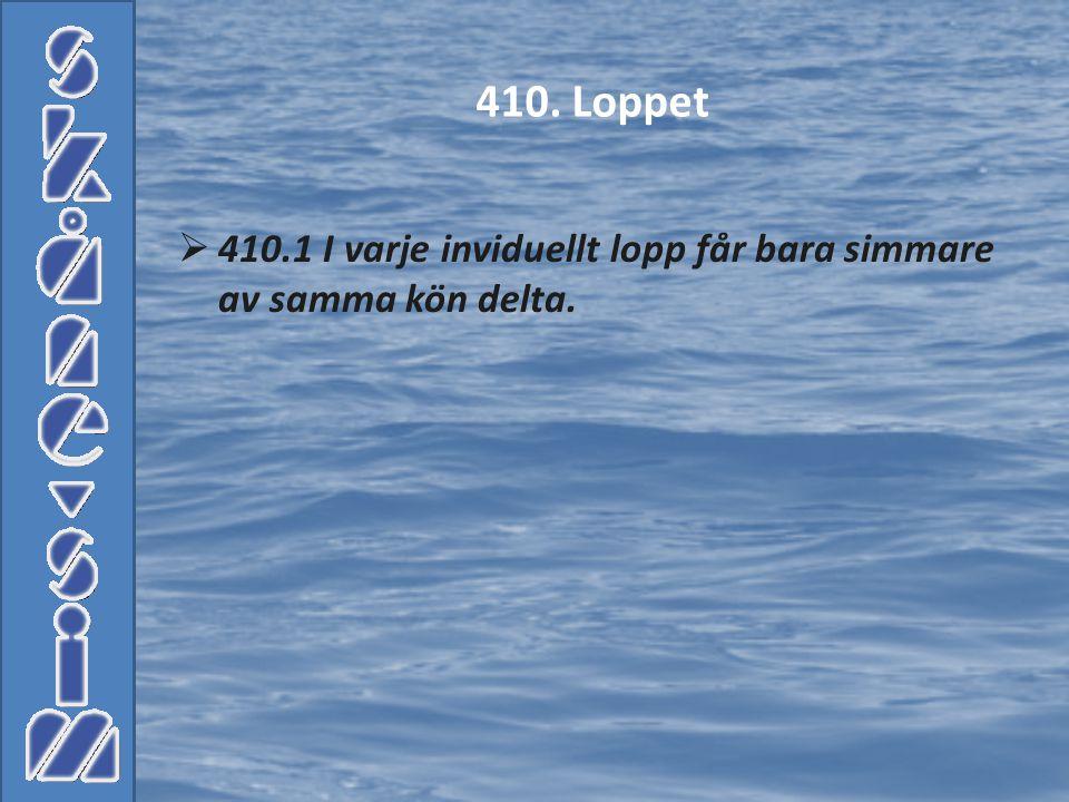  410.1 I varje inviduellt lopp får bara simmare av samma kön delta. 410. Loppet