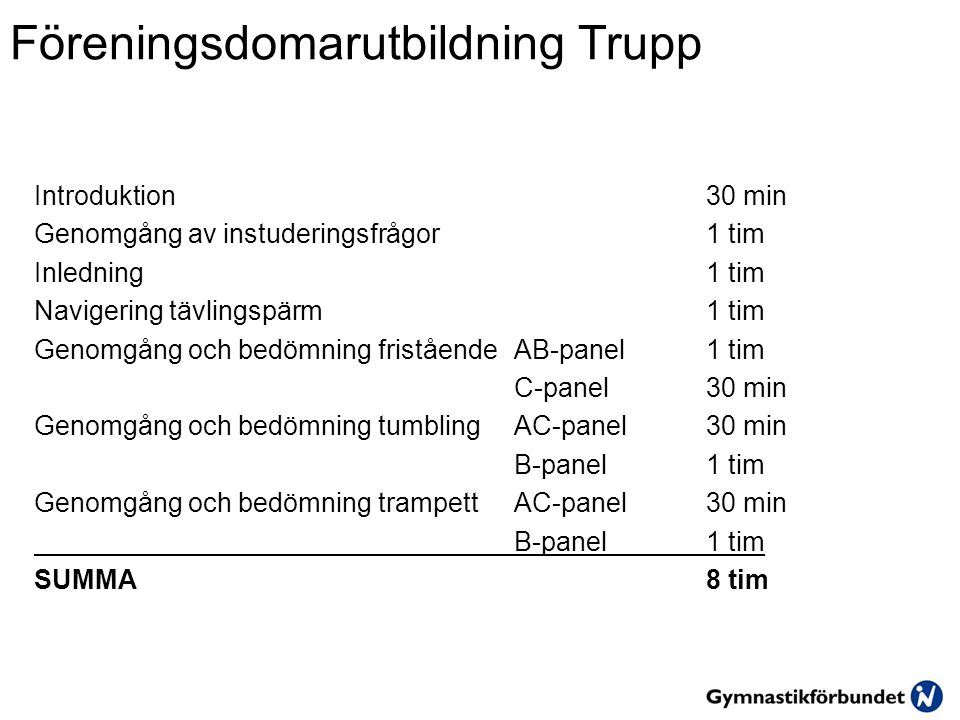 Tumbling – Bedömning B-panel Utförande Varje domare noterar minst 2 siffror/avdrag per gymnast 1.En siffra/avdrag f ö r voltfasen 2.En siffra/avdrag f ö r landningsfasen 3.Vid ev.