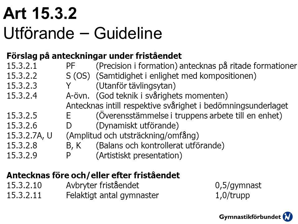 Art 15.3.2 Utf ö rande – Guideline Förslag på anteckningar under friståendet 15.3.2.1PF (Precision i formation) antecknas på ritade formationer 15.3.2.2S (OS)(Samtidighet i enlighet med kompositionen) 15.3.2.3Y(Utanför tävlingsytan) 15.3.2.4A-övn.