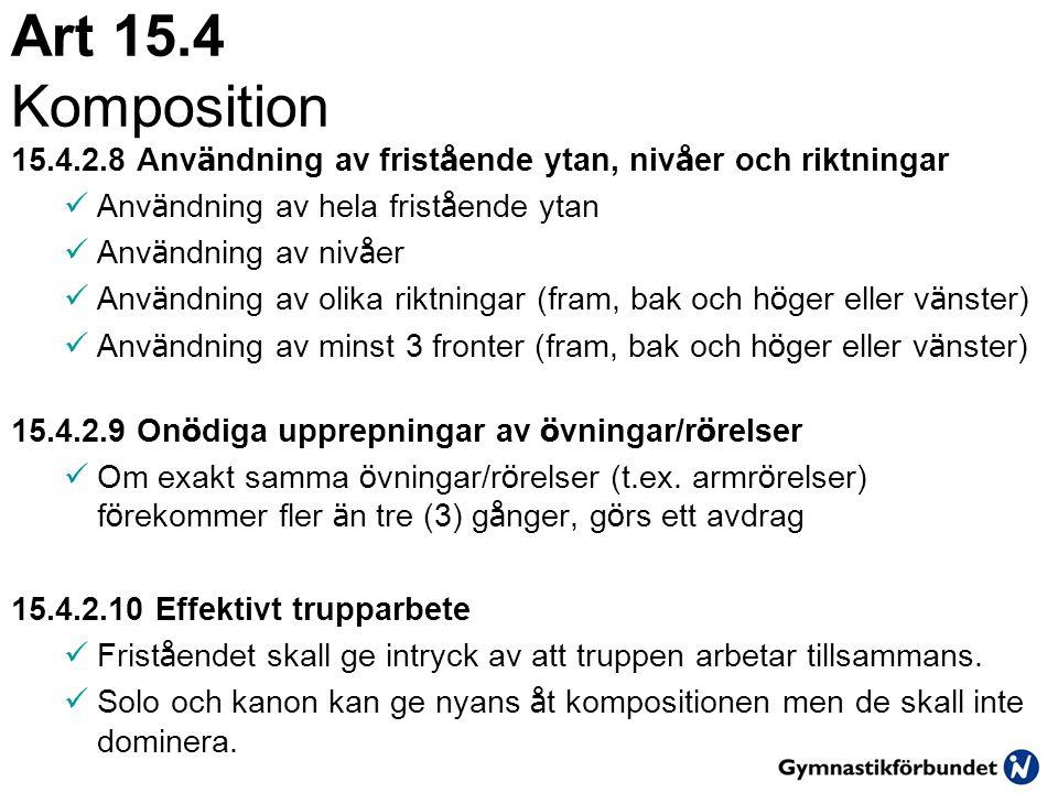 Art 15.4 Komposition 15.4.2.8 Anv ä ndning av frist å ende ytan, niv å er och riktningar  Anv ä ndning av hela frist å ende ytan  Anv ä ndning av ni
