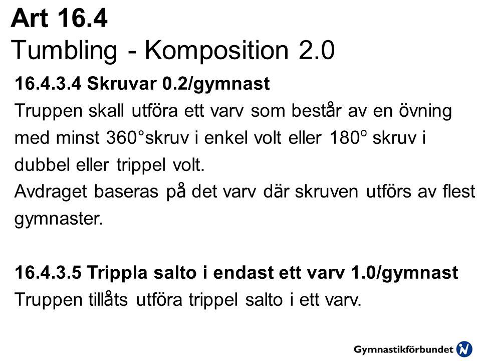 Art 16.4 Tumbling - Komposition 2.0 16.4.3.4 Skruvar 0.2/gymnast Truppen skall utf ö ra ett varv som best å r av en ö vning med minst 360°skruv i enke