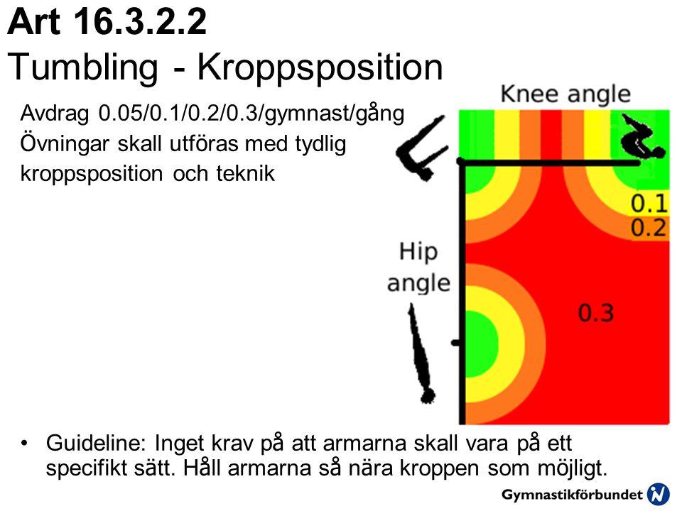 Art 16.3.2.2 Tumbling - Kroppsposition Avdrag 0.05/0.1/0.2/0.3/gymnast/g å ng Ö vningar skall utf ö ras med tydlig kroppsposition och teknik •Guideline: Inget krav p å att armarna skall vara p å ett specifikt s ä tt.