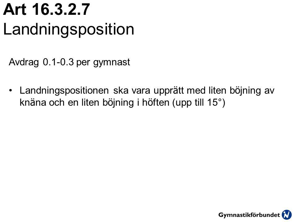 Art 16.3.2.7 Landningsposition Avdrag 0.1-0.3 per gymnast •Landningspositionen ska vara uppr ä tt med liten b ö jning av kn ä na och en liten b ö jning i h ö ften (upp till 15°)