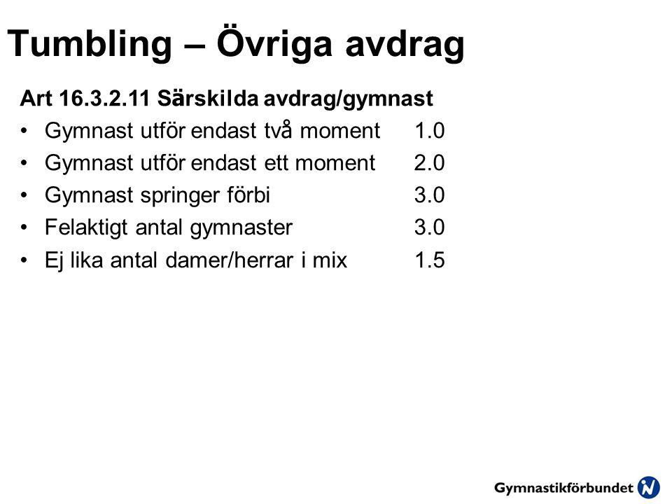 Tumbling – Övriga avdrag Art 16.3.2.11 S ä rskilda avdrag/gymnast •Gymnast utf ö r endast tv å moment1.0 •Gymnast utf ö r endast ett moment2.0 •Gymnast springer f ö rbi3.0 •Felaktigt antal gymnaster3.0 •Ej lika antal damer/herrar i mix1.5