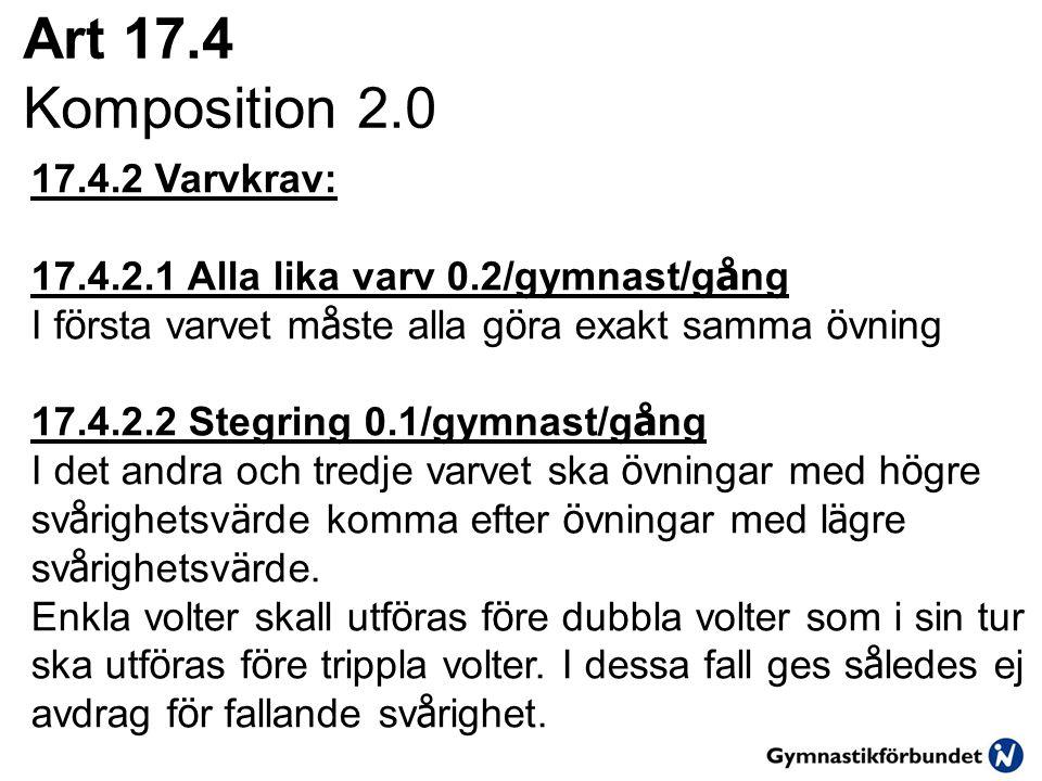 Art 17.4 Komposition 2.0 17.4.2 Varvkrav: 17.4.2.1 Alla lika varv 0.2/gymnast/g å ng I f ö rsta varvet m å ste alla g ö ra exakt samma ö vning 17.4.2.