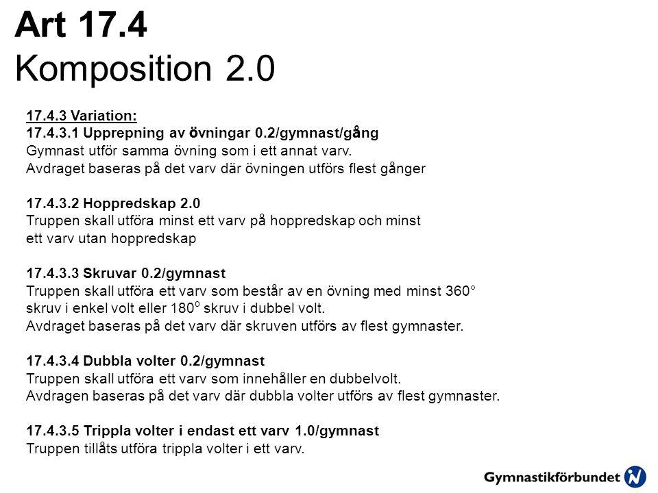 Art 17.4 Komposition 2.0 17.4.3 Variation: 17.4.3.1 Upprepning av ö vningar 0.2/gymnast/g å ng Gymnast utf ö r samma ö vning som i ett annat varv. Avd