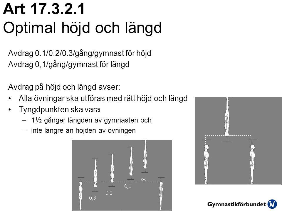Art 17.3.2.1 Optimal höjd och längd Avdrag 0.1/0.2/0.3/g å ng/gymnast f ö r h ö jd Avdrag 0,1/g å ng/gymnast f ö r l ä ngd Avdrag p å h ö jd och l ä n