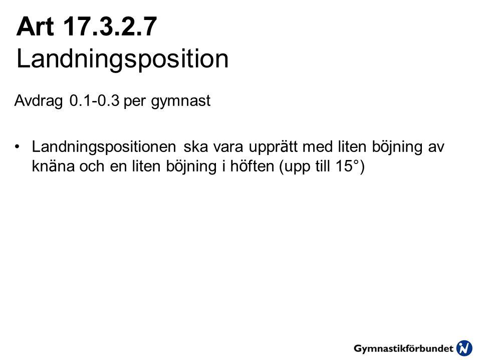 Art 17.3.2.7 Landningsposition Avdrag 0.1-0.3 per gymnast •Landningspositionen ska vara uppr ä tt med liten b ö jning av kn ä na och en liten b ö jning i h ö ften (upp till 15°)