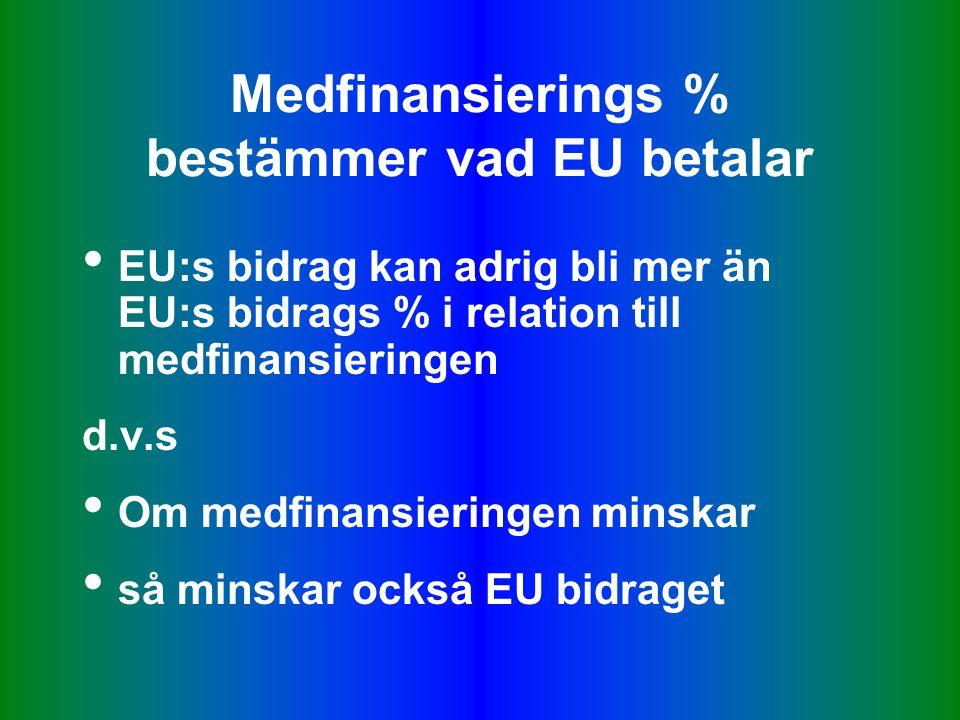 Medfinansierings % bestämmer vad EU betalar • EU:s bidrag kan adrig bli mer än EU:s bidrags % i relation till medfinansieringen d.v.s • Om medfinansieringen minskar • så minskar också EU bidraget