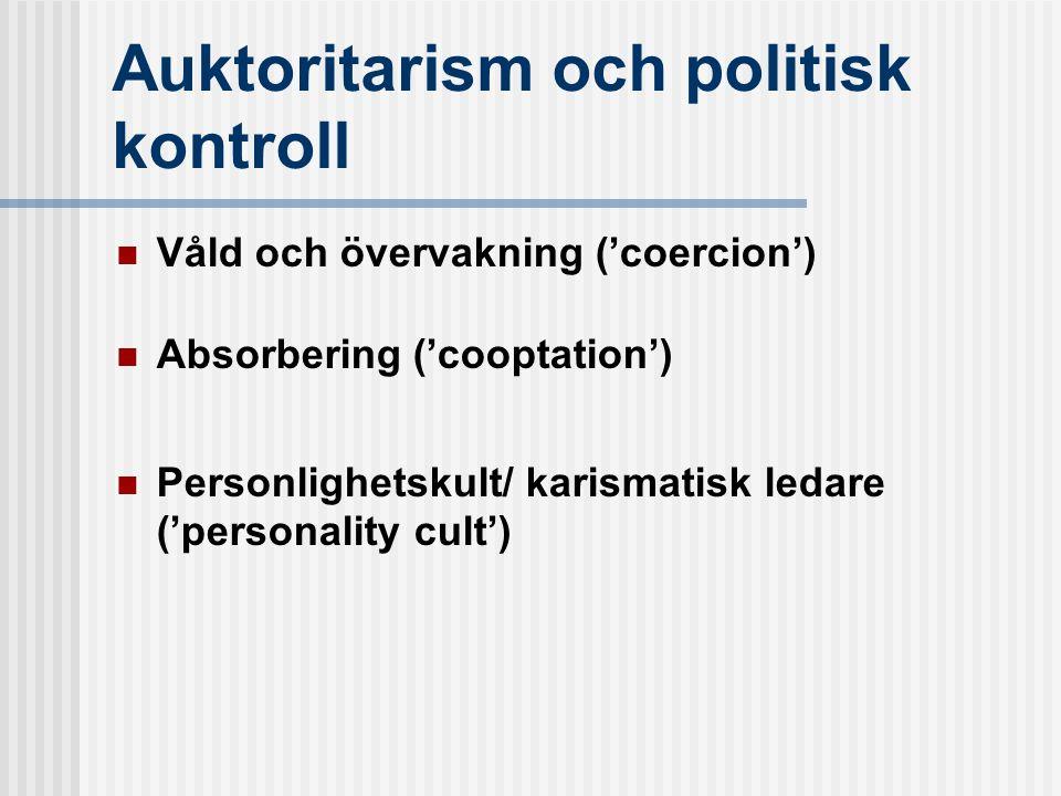 Auktoritarism och politisk kontroll  Våld och övervakning ('coercion')  Absorbering ('cooptation')  Personlighetskult/ karismatisk ledare ('personality cult')