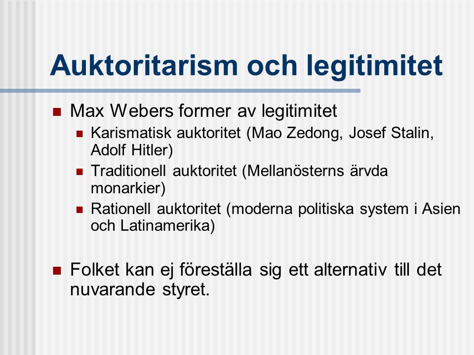 Auktoritarism och legitimitet  Max Webers former av legitimitet  Karismatisk auktoritet (Mao Zedong, Josef Stalin, Adolf Hitler)  Traditionell auktoritet (Mellanösterns ärvda monarkier)  Rationell auktoritet (moderna politiska system i Asien och Latinamerika)  Folket kan ej föreställa sig ett alternativ till det nuvarande styret.